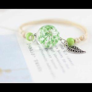 Green Flower Pressed Adjustable Bracelet